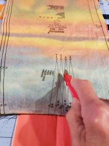 Tracing darts onto fabric